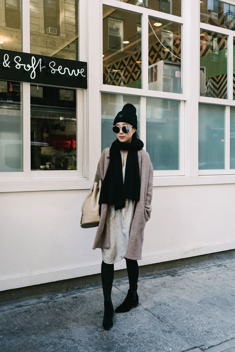 Pas de Calais Coat, Maiyet Dress, Loeffler Randall Boots, Ghurka Bag, COS Scarf, Acne Studios Hat, Gentle Monster Sunglasses