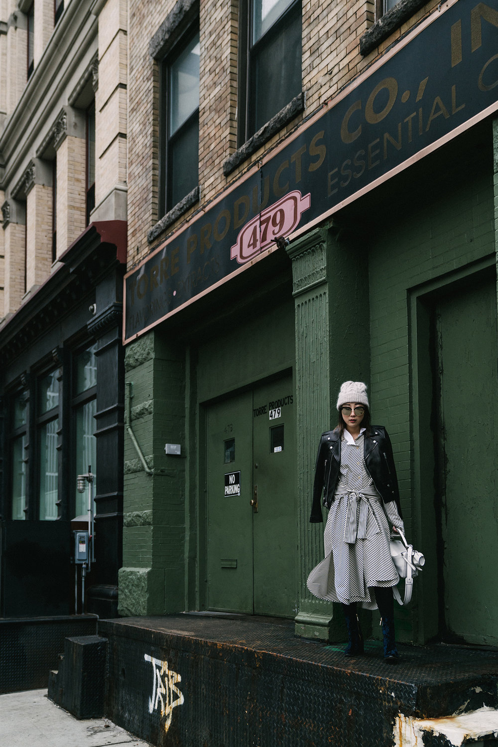 Saint Laurent Jacket, Loewe Dress and Bag, Dear Frances Boots, Gentle Monster Sunglasses, COS Beanie