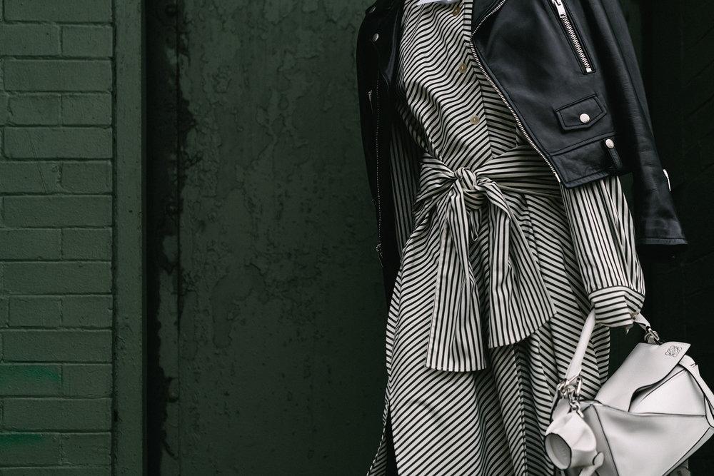 Saint Laurent Jacket, Loewe Dress,Bag, and Keychain