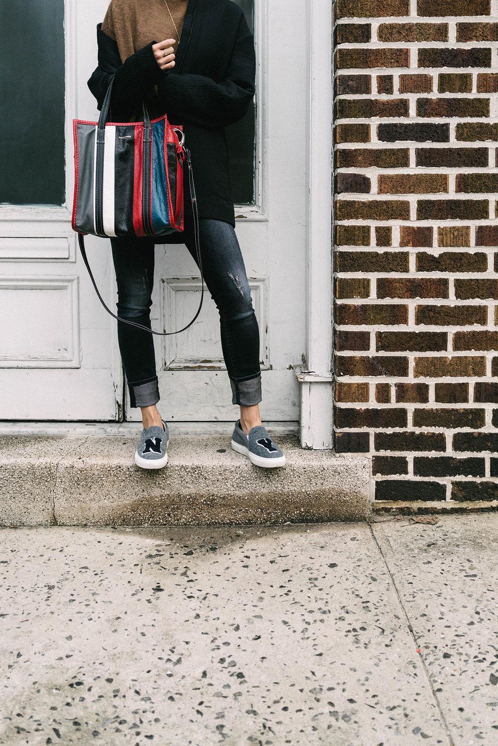 COS Jacket, Pas de Calais Sweater,  R13 Denim ,  Balenciaga Bag ,  Joshua Saunders Shoes