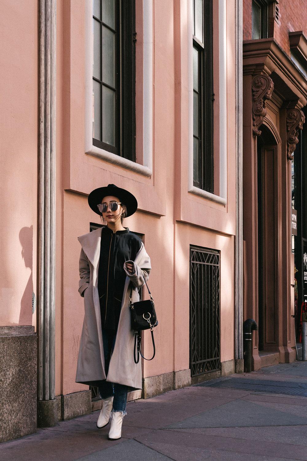 Michelle Waugh Coat ,  Homeism Top ,  3x1 Denim ,  Dear Frances Boots , Chloé Bag,  Gentle Monster Sunglasses ,  Janessa Leone Hat