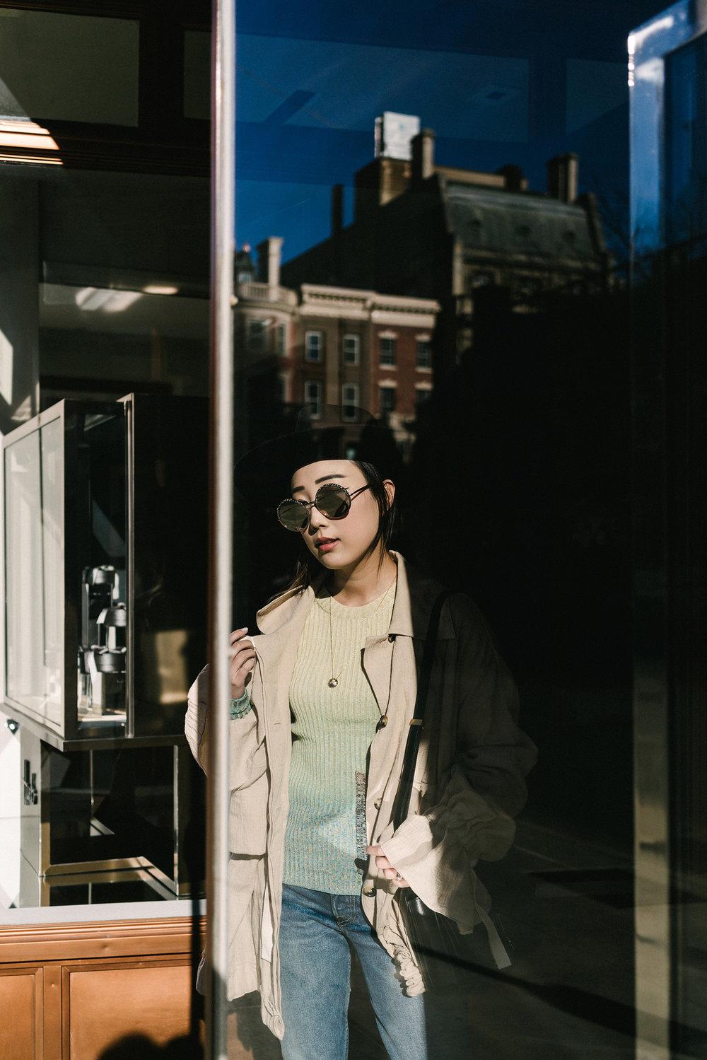 Loewe Jacket, Acne Studios Sweater, Grlfrnd Denim, The Row Shoes, Céline Bag, Janessa Leone Hat