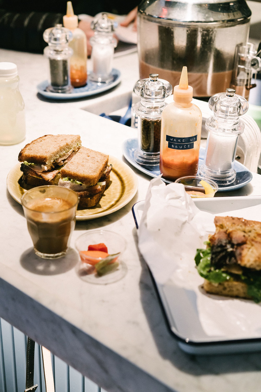 Coffee and sandwiches at Daily Provisions