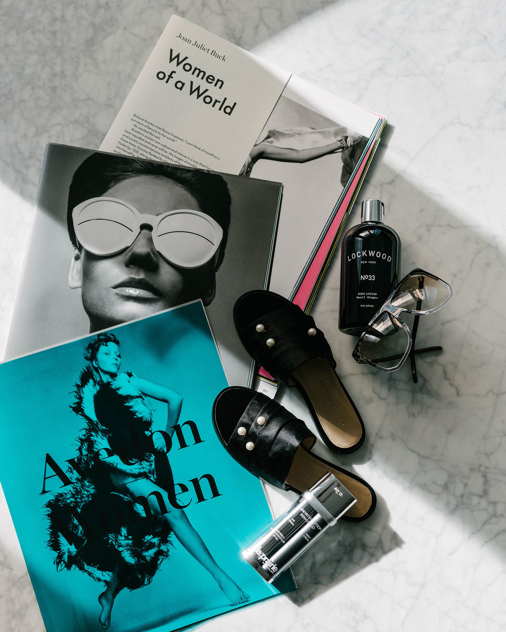 Avedon Women, Lockwood New York Lotion, Loewe Sunglasses, Dear Frances Sandals, La Prairie Cream