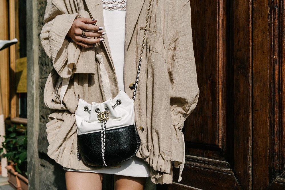 Loewe Jacket, Self Portrait Dress, Chanel Bag, Kat Kim Rings