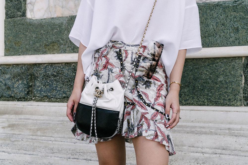 Vince Top, Isabel Marant Skirt, Chanel Bag