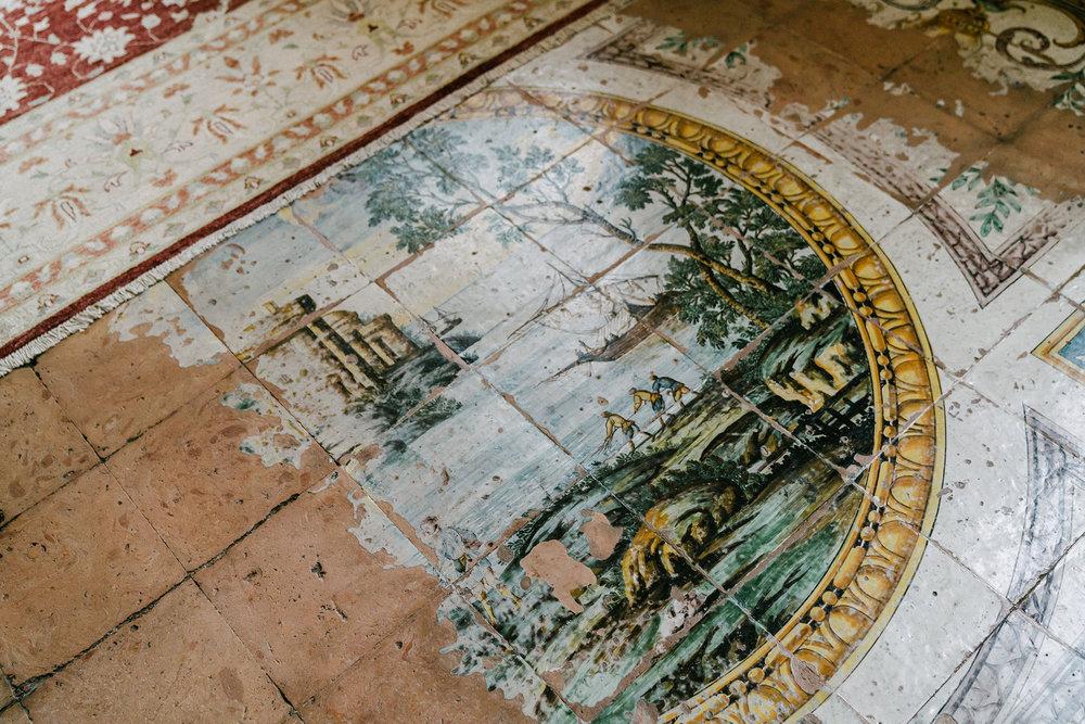"original ""Capodimonte Maioliche- style"" ceramic floor by Ignazio Chiaiese"