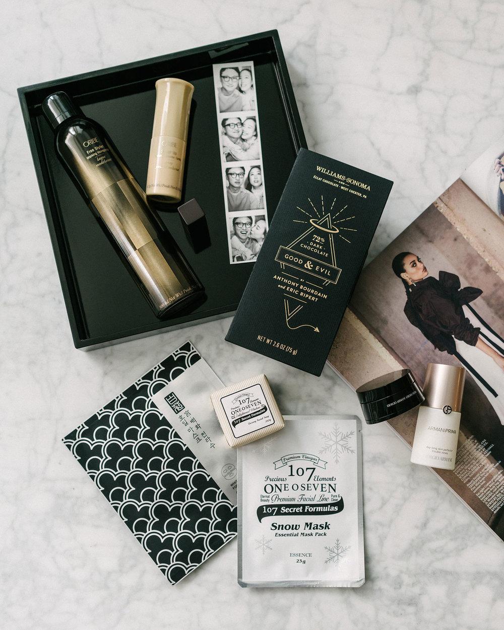 Oribe Hairspray  and  Dry Shampoo ,  One o Seven Sheet Masks ,  Armani Beauty Eye Cream  and  Primer
