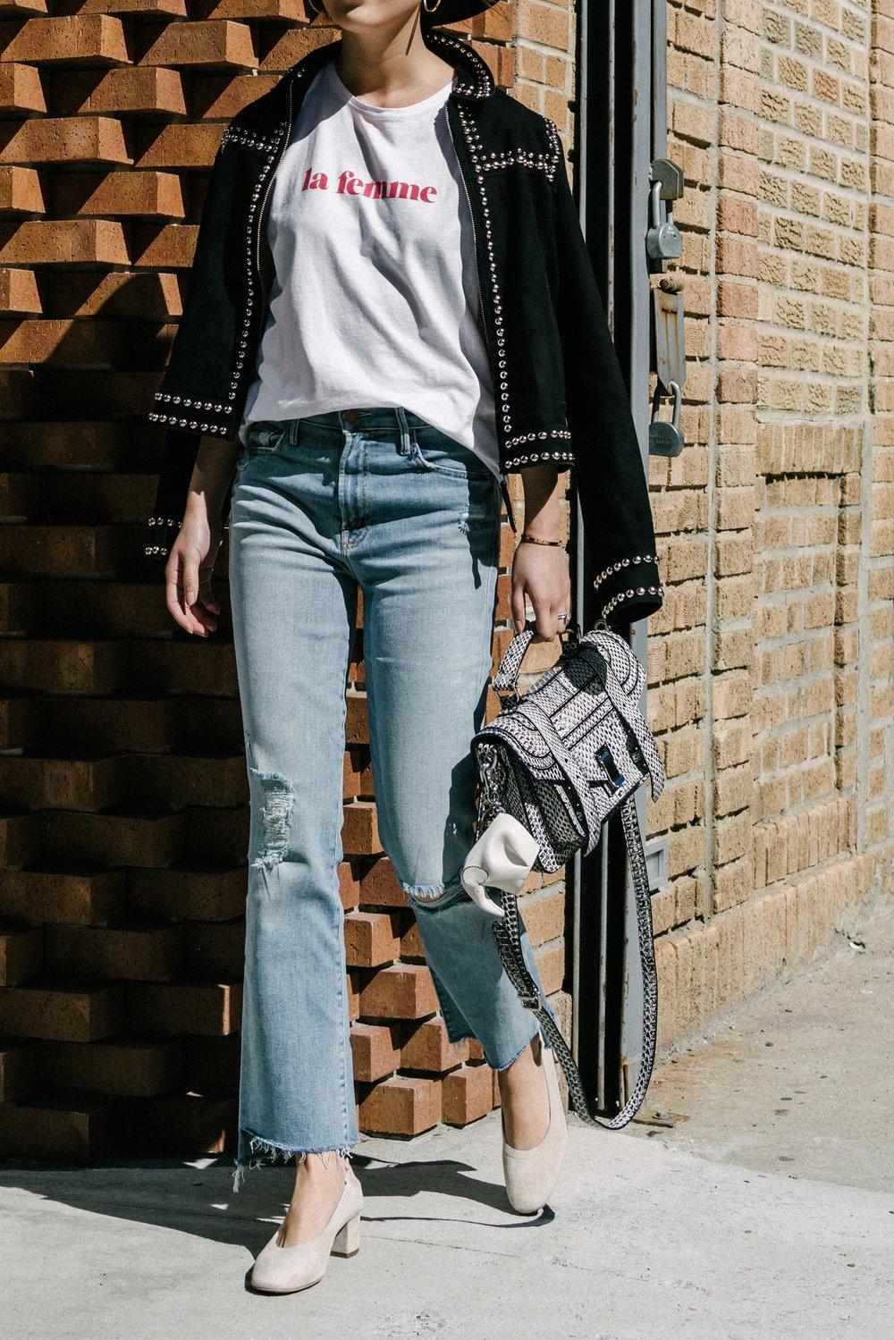 Sézane Jacket  and  Shirt ,  Mother Denim ,  Everlane Shoes , Proenza Schouler Bag,  Loewe Keychain