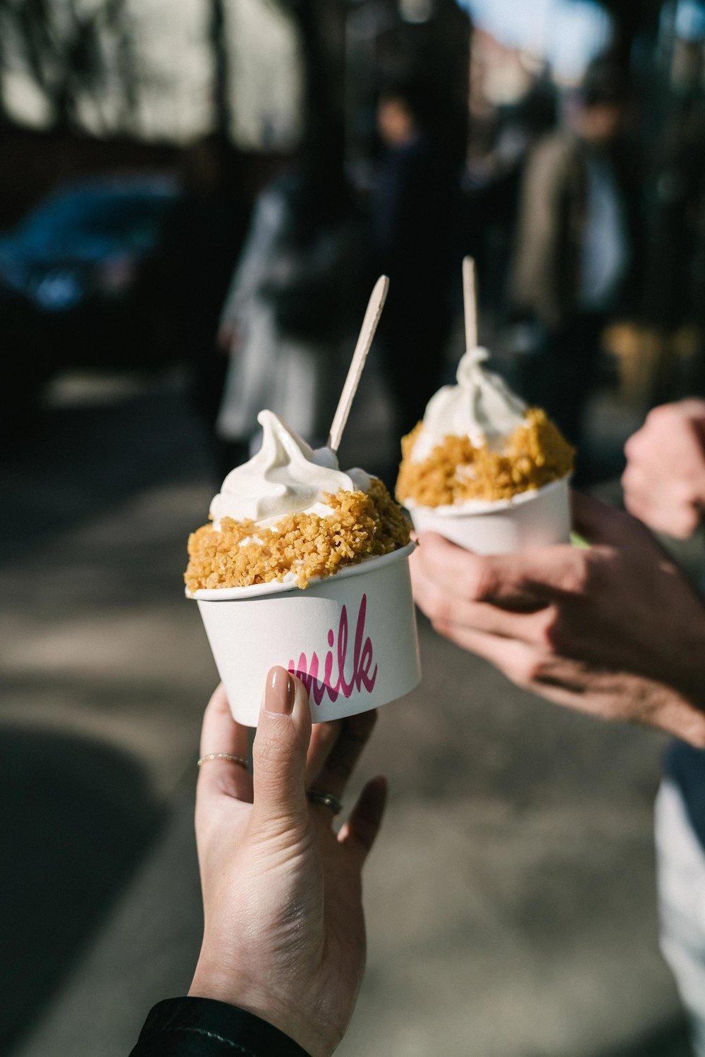 Cereal Milk Soft Serve at  Milk Bar Nolita w/  Stephen