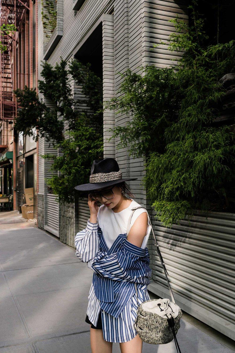 Enföld Top, Khokho Bag, Loewe Sunglasses, Janessa Leone Hat
