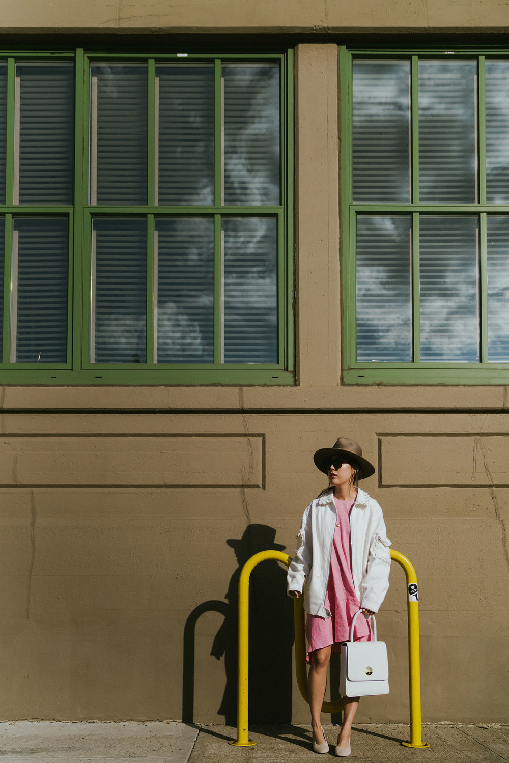 Lie Collection Jacket, Paper London Dress, Everlane Shoes, Mansur Gavriel Bag, Janessa Leone Hat