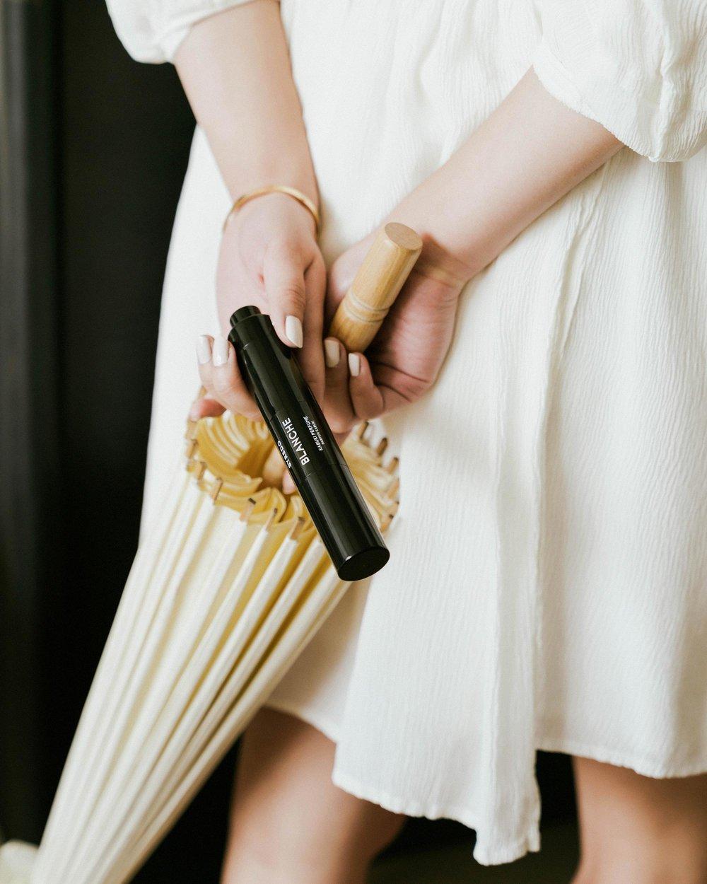Byredo Blanche Kabuki Perfume, Apiece Apart Dress
