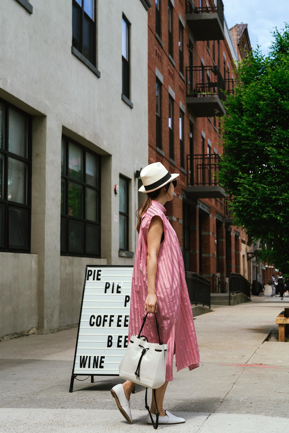 Balenciaga Dress, von Holzhausen Bag, The Row Shoes, J.Crew Hat