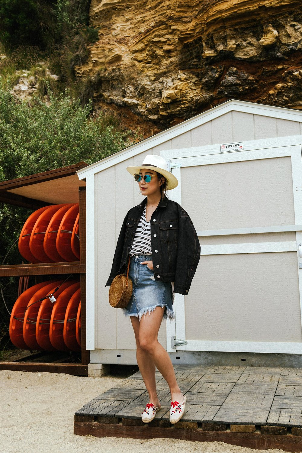 Acne Studios Jacket , Lemlem Top,  7 for all Mankind Skirt ,  Bembien Bag ,  Janessa Leone Hat ,  Soludos Shoes , Gentle Monster Sunnies