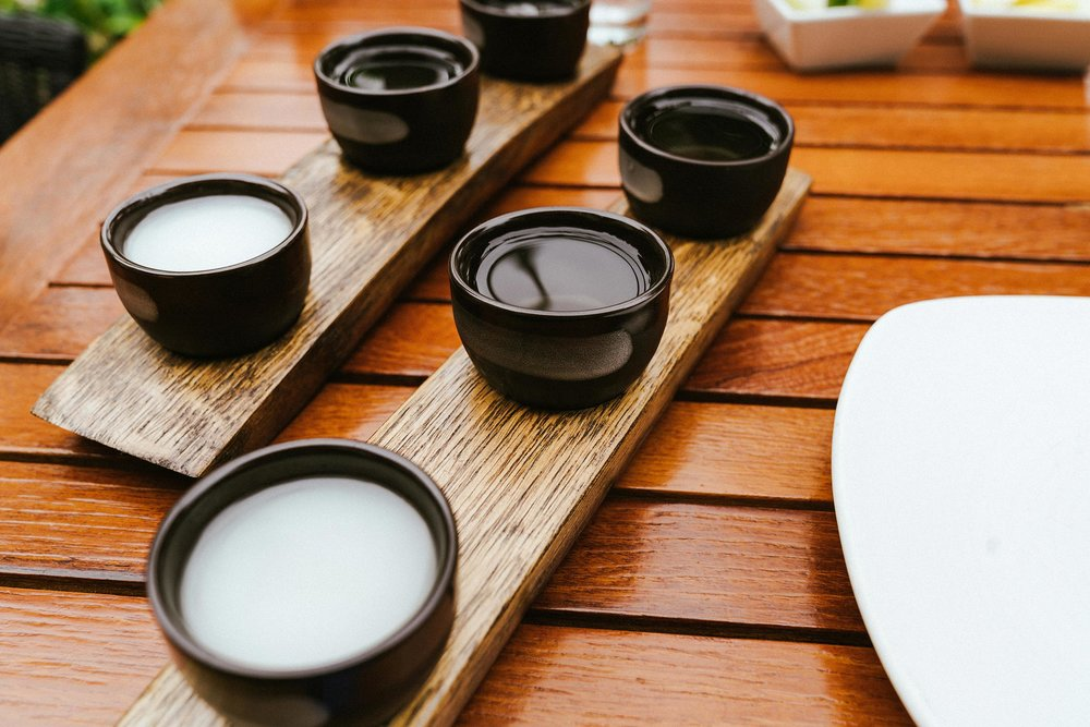 Sake flight and lunch at  bashi