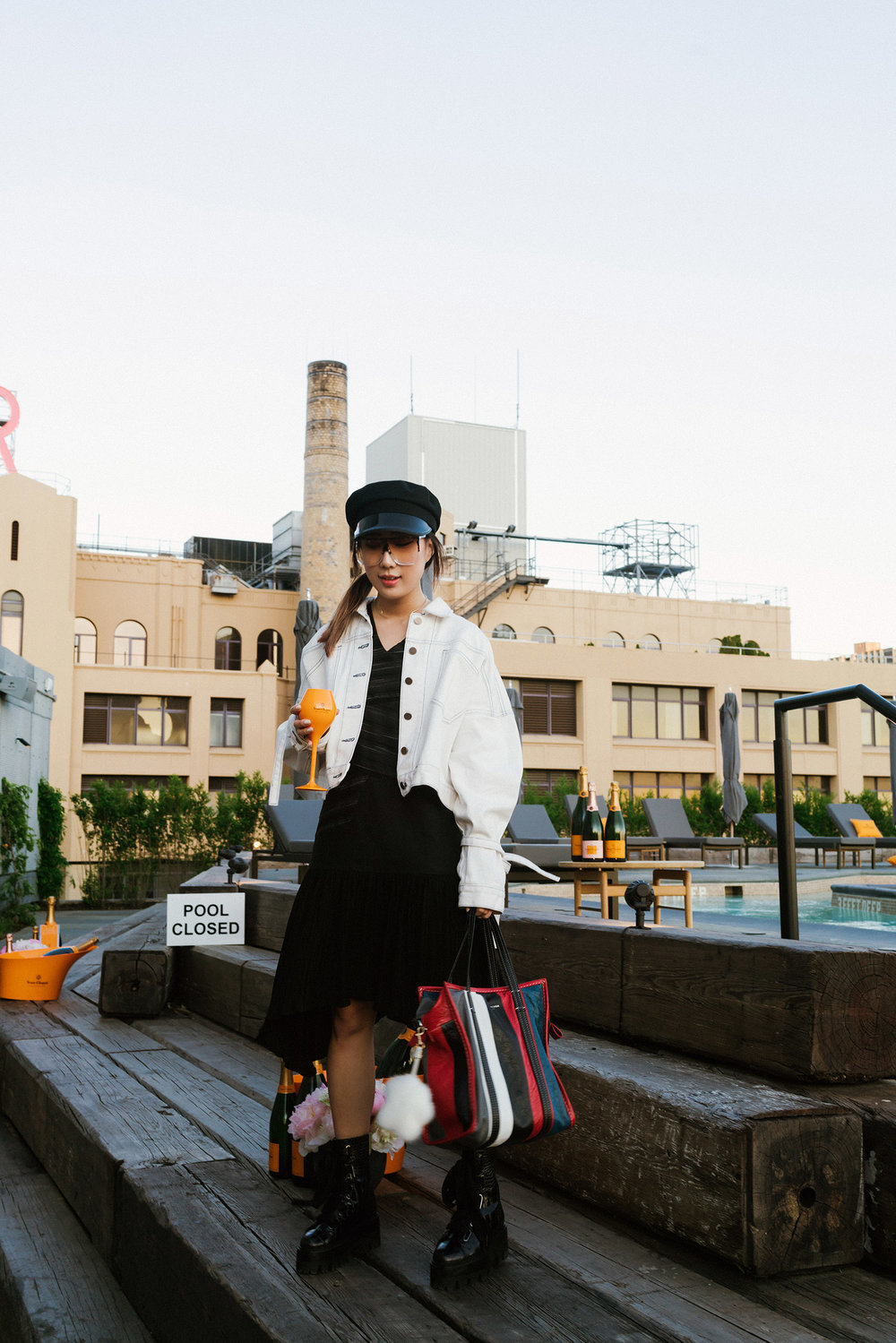 Andersson Bell Jacket,  LIE Collection Dress , Ellery Boots, Balenciaga Bag, Gucci Hat