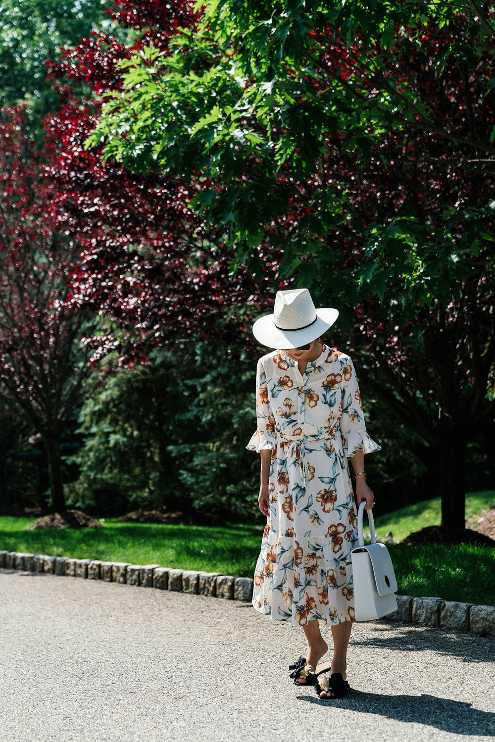 Petite Studio Dress ,  Mansur Gavriel Bag ,  Dear Frances Slides ,  Janessa Leone Hat