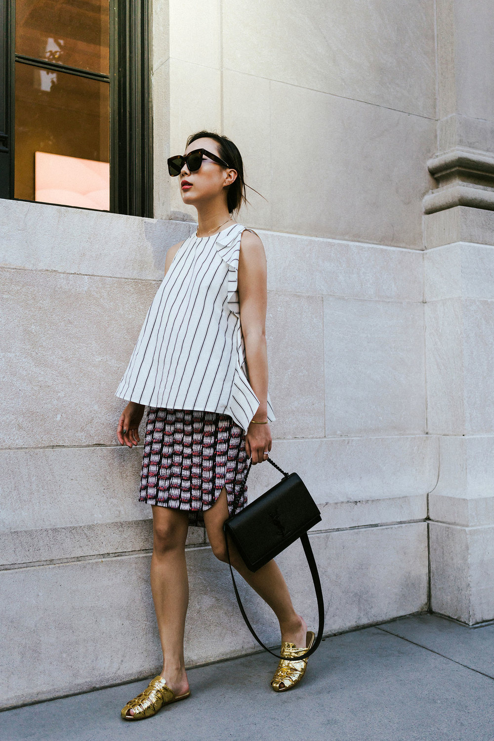 Yune Ho Top, COS Skirt,  The Row Shoes , Saint Laurent Bag, Céline Sunglasses