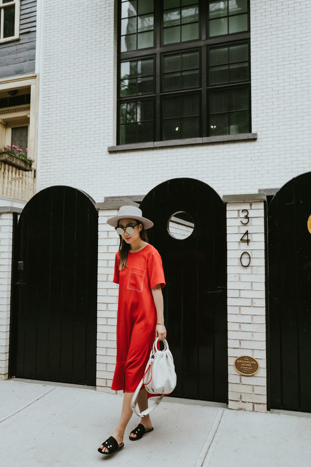 Yune Ho Dress ,  Dear Frances Slides , Loewe Bag,  Janessa Leone Hat