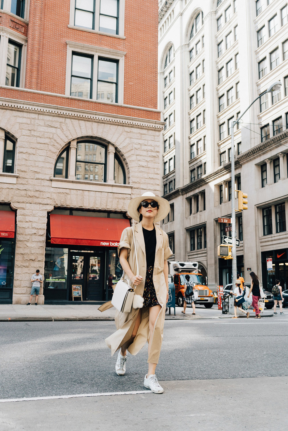 Yune Ho Trench ,  Everlane Top ,  Sezane Skirt ,  Golden Goose Sneakers ,  Milma Bag ,  Anya Hindmarch Keychain