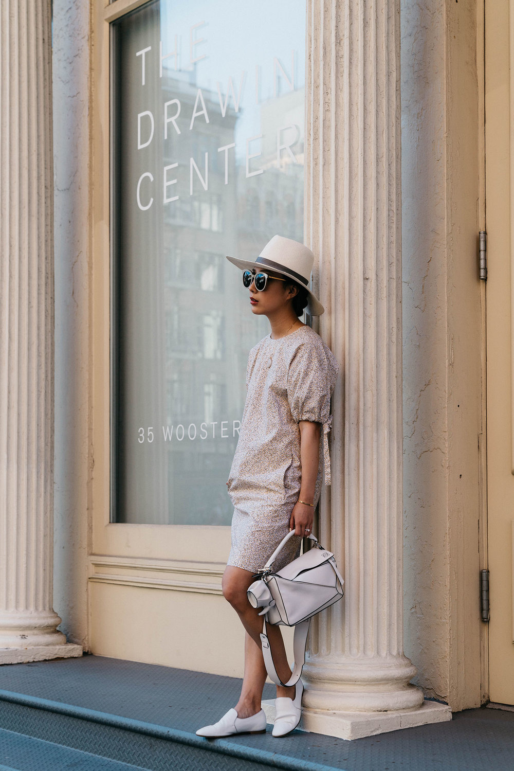 COS Dress, The Row Shoes, Loewe Bag and Keychain, Janessa Leone Hat