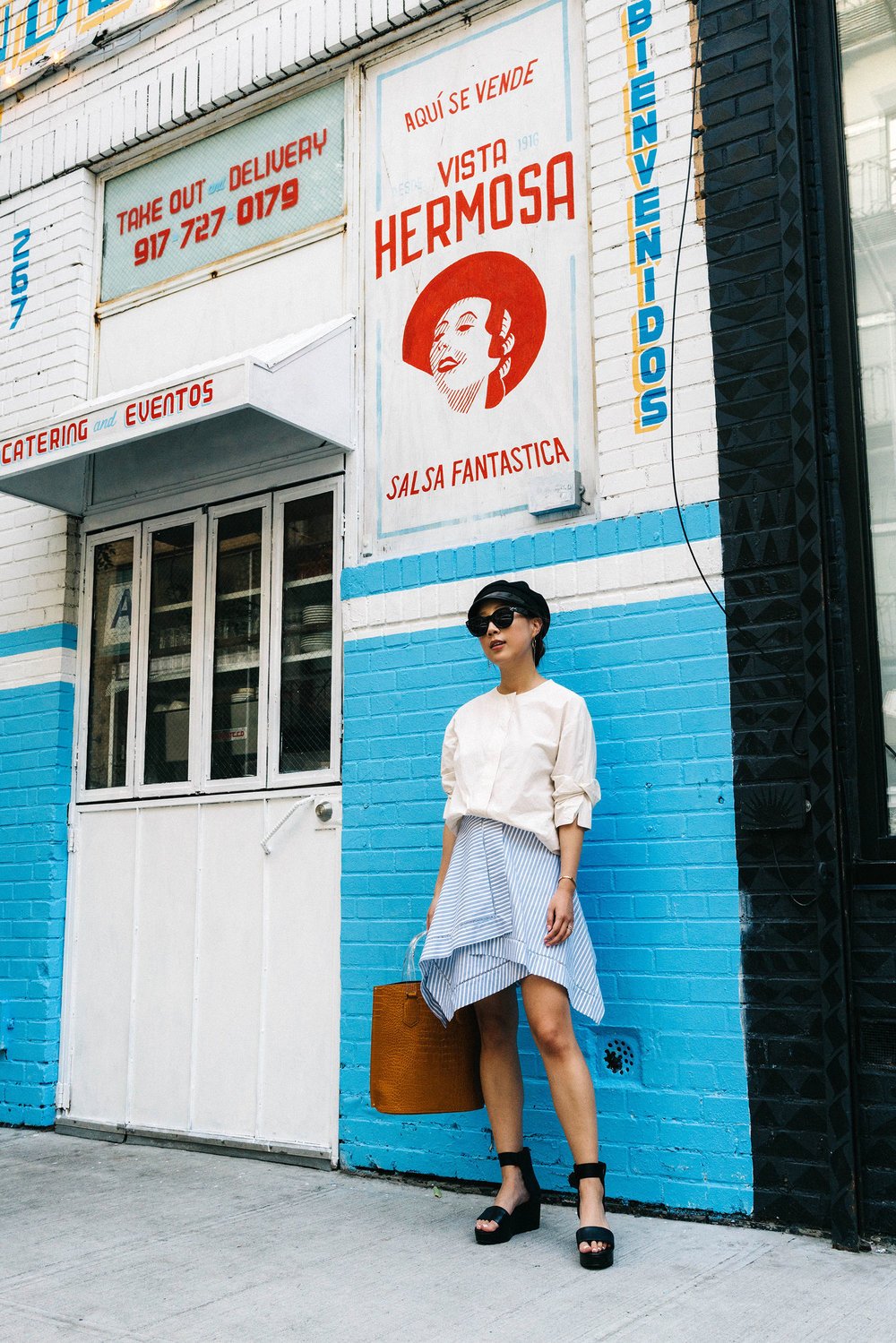 COS Top, J.W. Anderson Skirt, Seven All Around Sandals, Trademark Bag, Gucci Hat