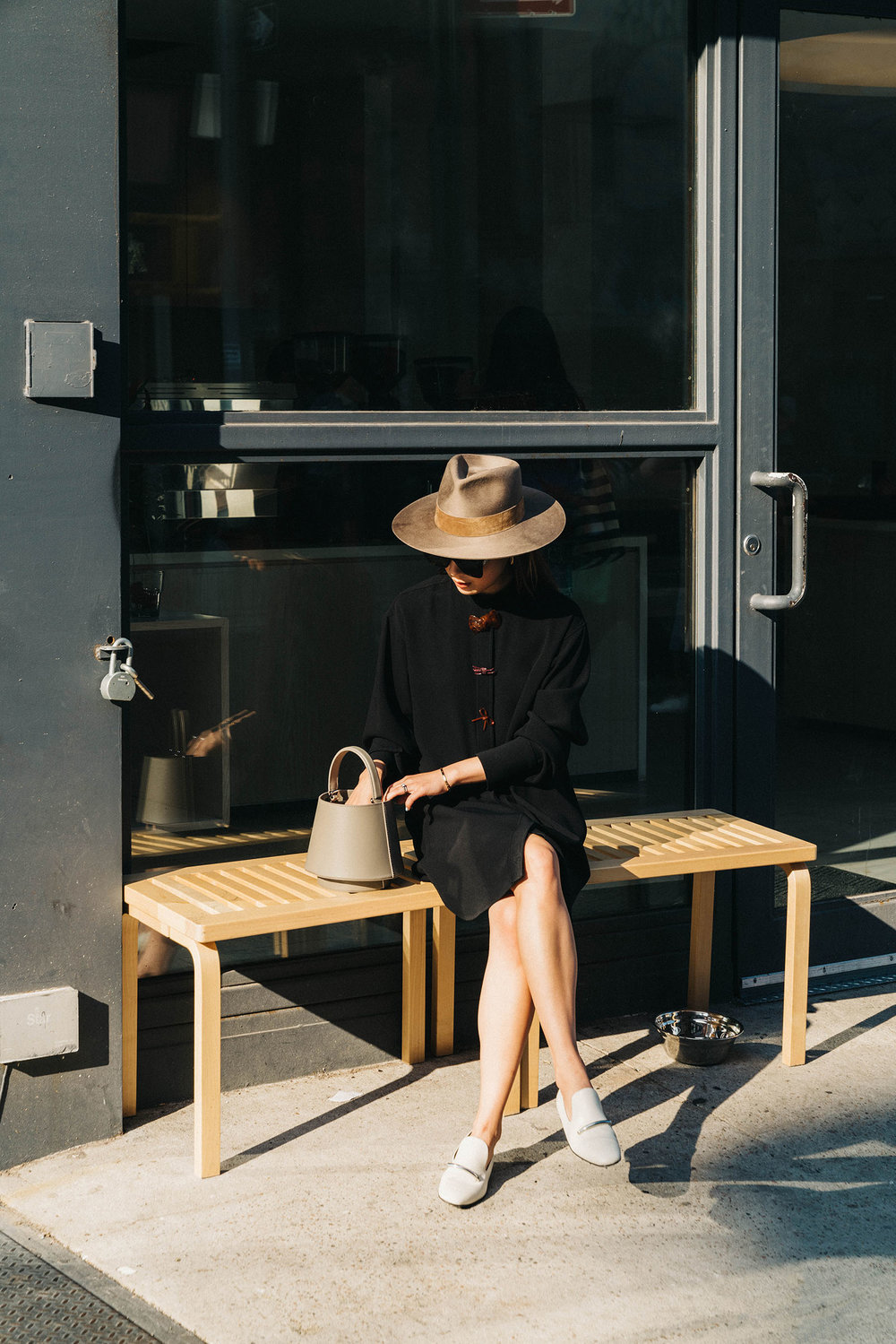 J.W. Anderson Dress, Via Spiga Shoes, Mlouye Bag, Janessa Leone Hat
