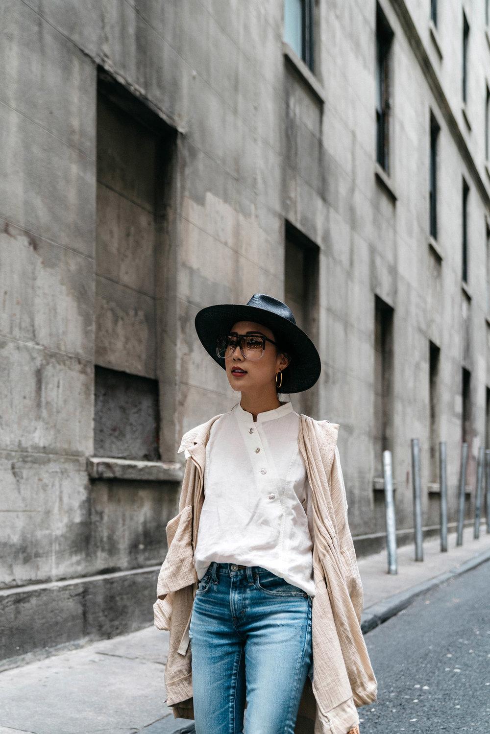 Loewe Jacket, Akro Top, Moussy Denim, Janessa Leone Hat, Vita Fede Earrings