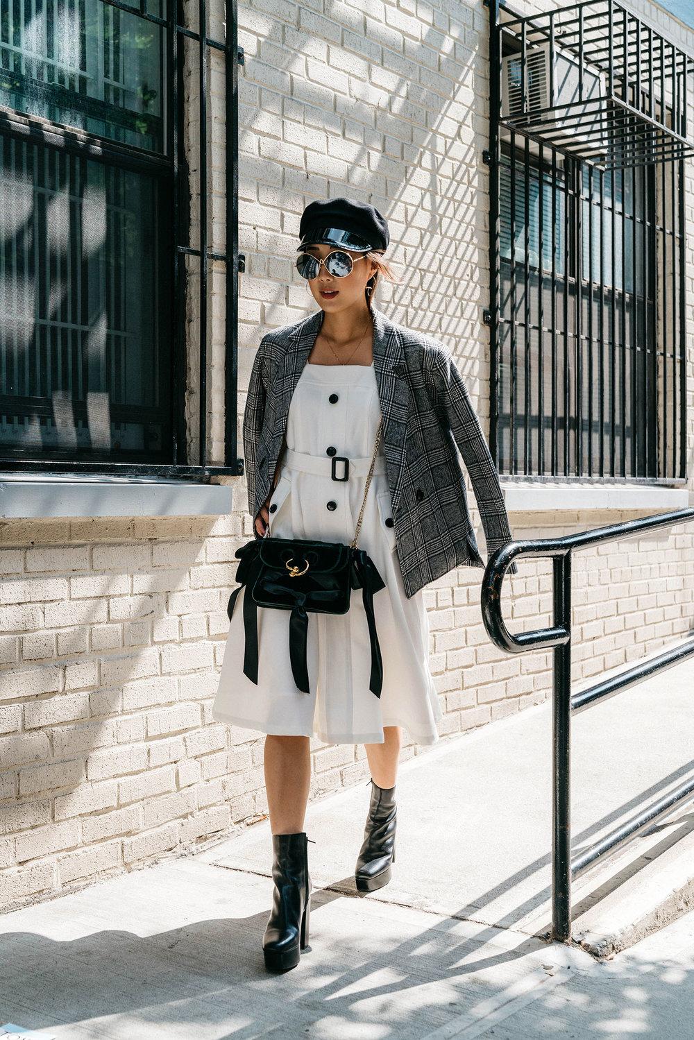 Petite Studio Jacket and Dress, J.W. Anderson Bag, Alexander Wang Boots, Altuzarra Sunglasses