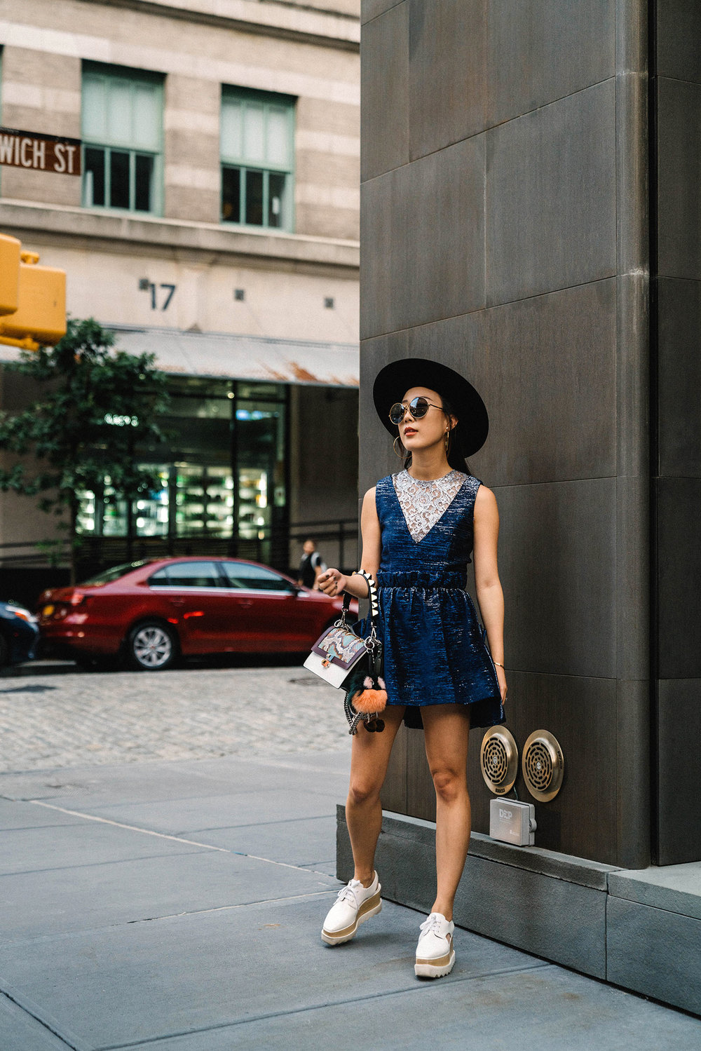 Jourden Dress, Stella McCartney Shoes (Similar), Fendi Bag and KeychainAltuzarra Sunglasses