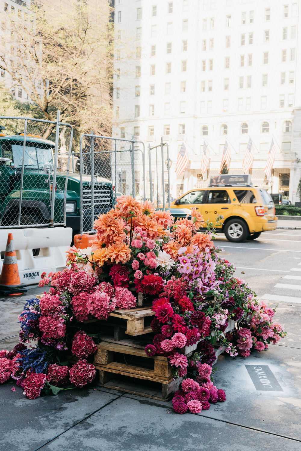 Farrow & Ball x Lewis Miller Design guerrilla style flower installations around the city, bringing beauty to unexpected city corners and construction sites.