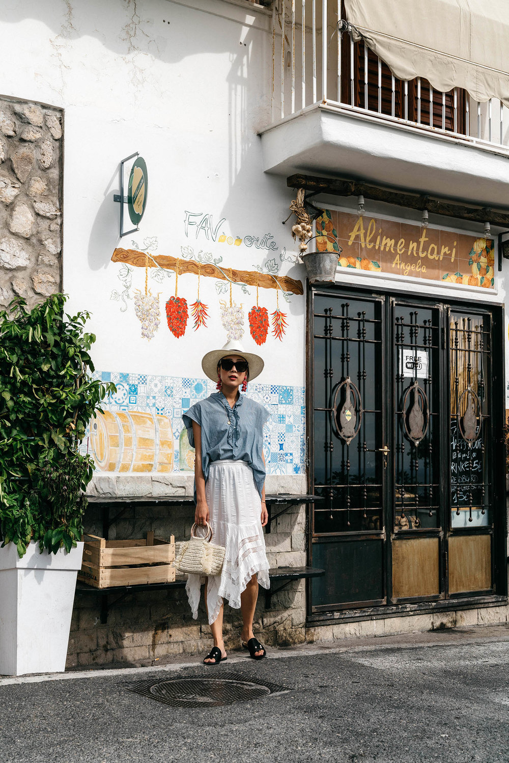 Nili Lotan Top ,  Carolina Santo Domingo Bag ,  Dear Frances Sandals ,  Sachin & Babi Earrings