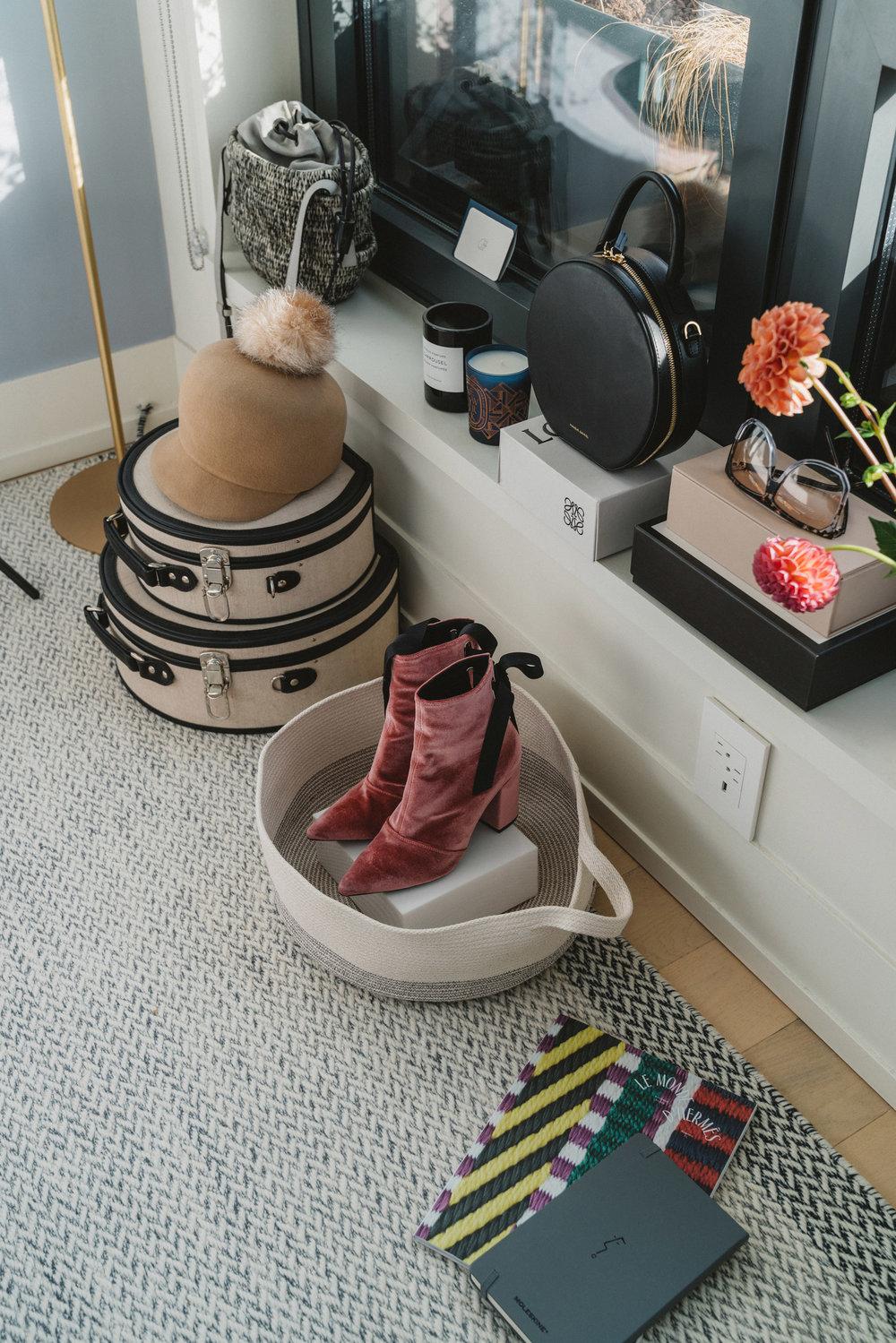 Muuto Rug, Khokho Bag, Lola Hats Hat, Steamline Luggage Hatbox,Byredo Candle, Diptyque Candle, Mansur Gavriel Bag,Robert Clergerie Boots, Jason Wu Moleskin