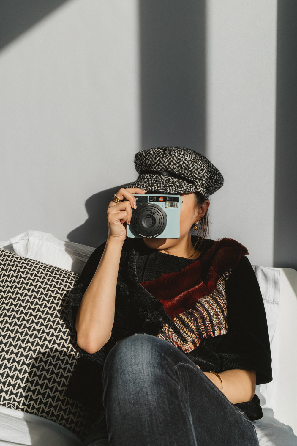 Lie Collection Top ,  R13 Denim ,  Eugenia Kim Hat ,  Leica Camera