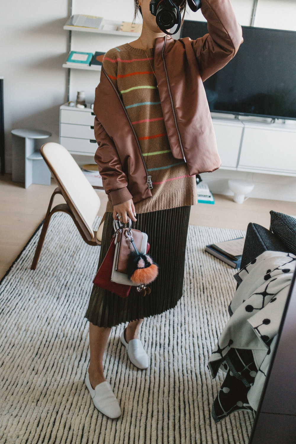 Acne Studios Jacket, Sies Marjan Sweater, Sezane Skirt, Fendi Bag and Keychain, The Row Shoes