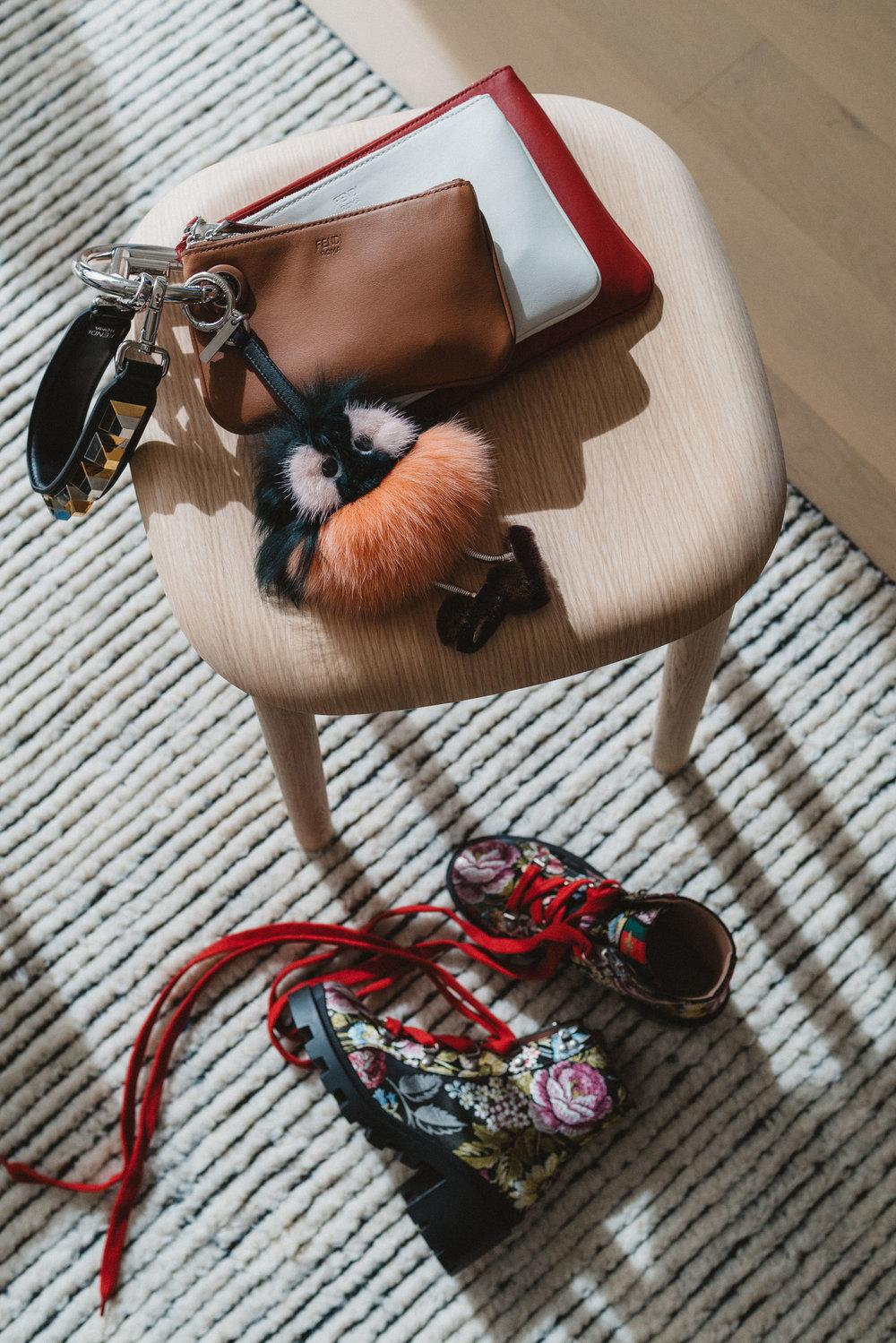 Fendi Pouch, Fendi Keychain, Gucci Boots