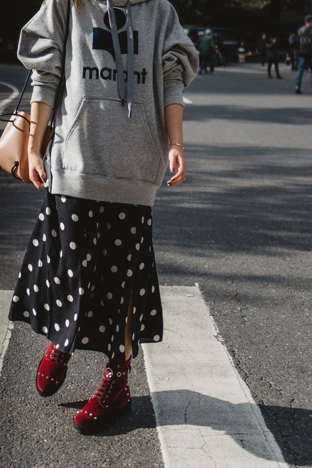Isabel Marant Hoodie, Reformation Skirt, Fendi Boots, Kozha Numbers Bag