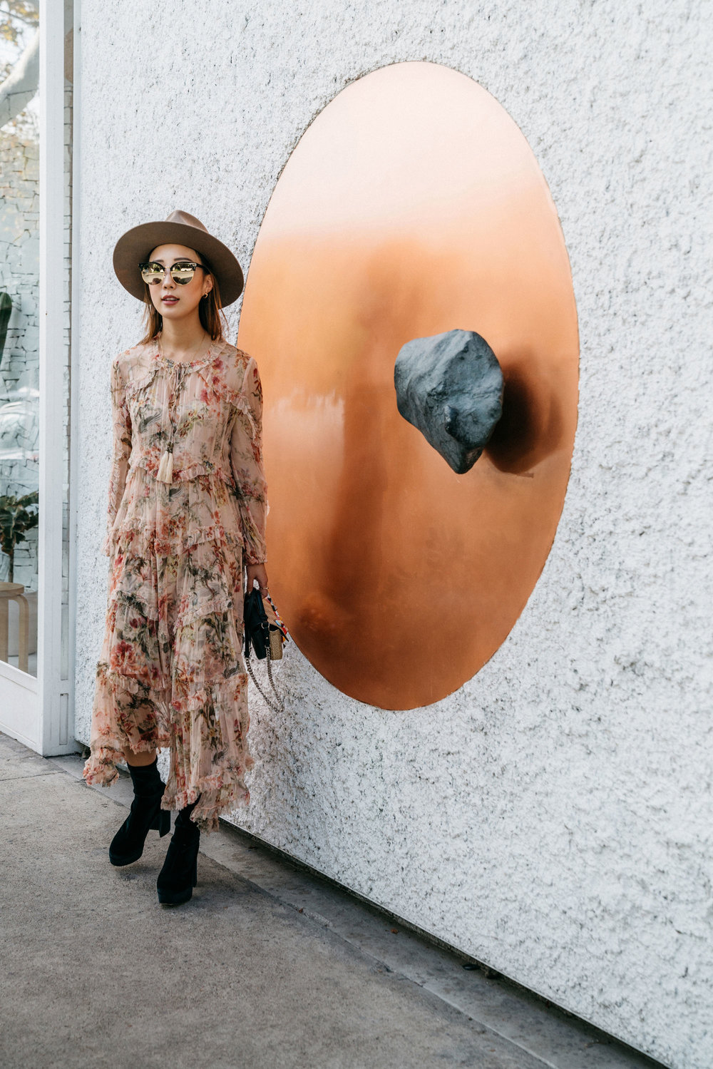 Zimmermann Dress, Miu Miu Boots, Fendi Bag, Janessa Leone Hat, Gentle Monster Sunglasses