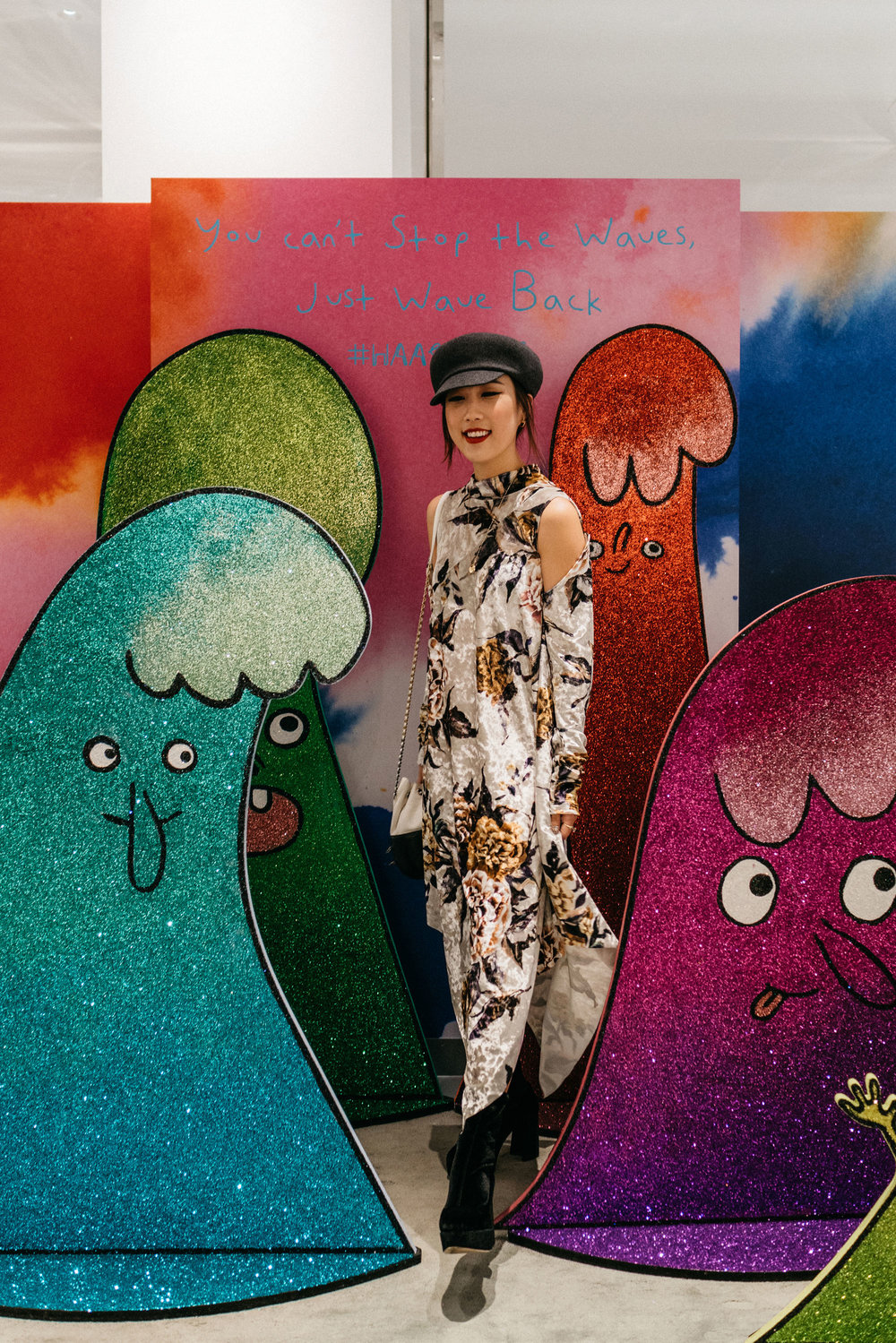 Barneys New York  #HaasRules   #HaasForTheHolidays  Event, wearing MM6 Maison Margiela Dress, Miu Miu Boots