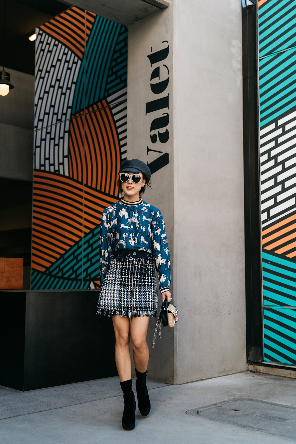 Zara Top  and  Skirt , Miu Miu Boots, Fendi Bag, Hermes Hat, Gentle Monster Sunglasses