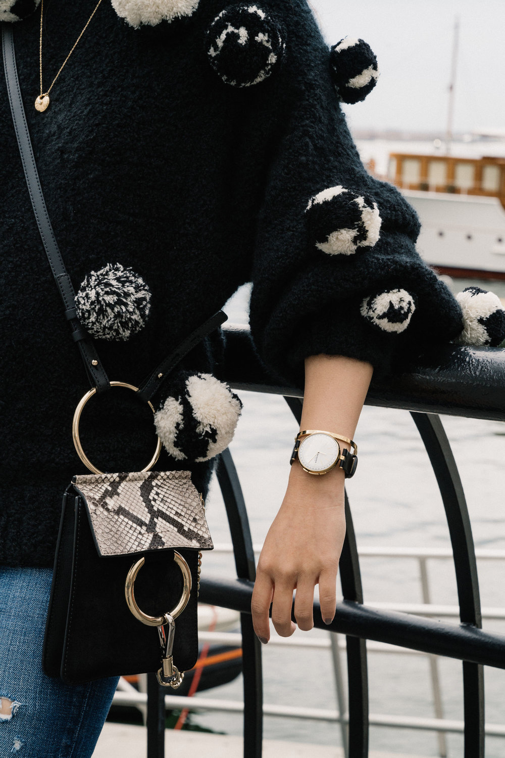 Spencer Vladimir Sweater,  Moussy Denim , Chloé Bag,  Skagen Watch ,  Cartier Bracelet