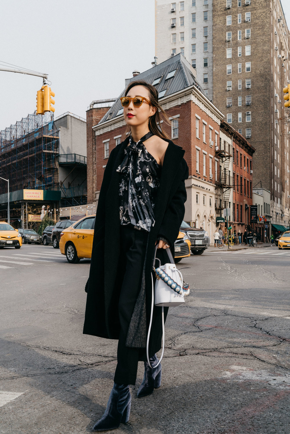 Margaux Lonnberg x Mija Coat , Erdem Top, Aritzia Trousers, Prada Boots, Fendi Bag,  Oliver Peoples Sunglasses