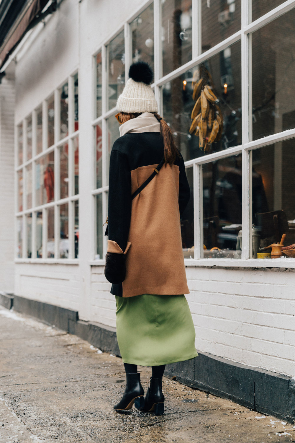 Petite Studio Coat ,  Yune Ho Dress , The Row Boots, Celine Bag, Eugenia Kim Beanie