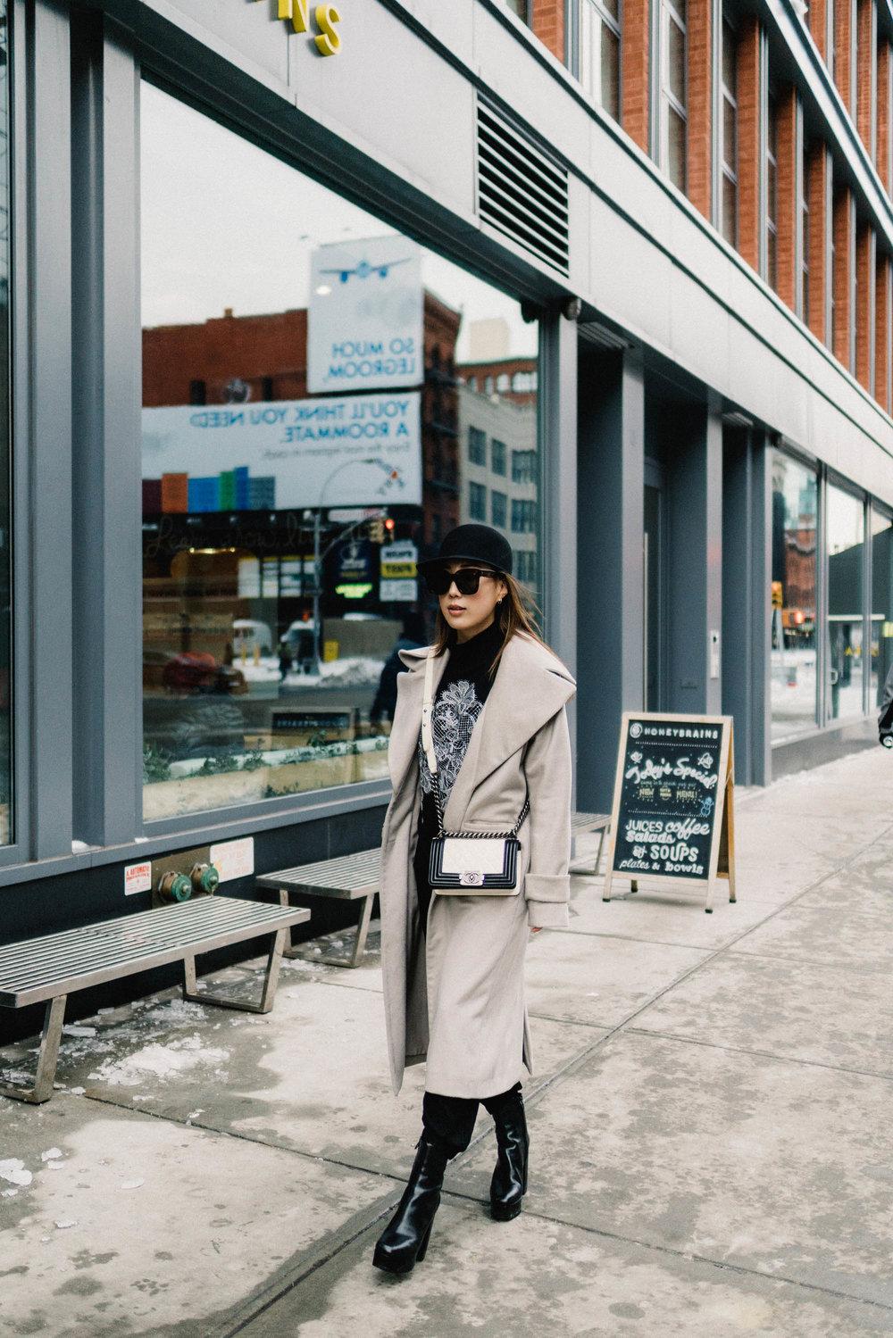 Michelle Waugh Coat ,  Lie Sang Bong Top , Vince Trousers, Alexander Wang Boots, Chanel Bag
