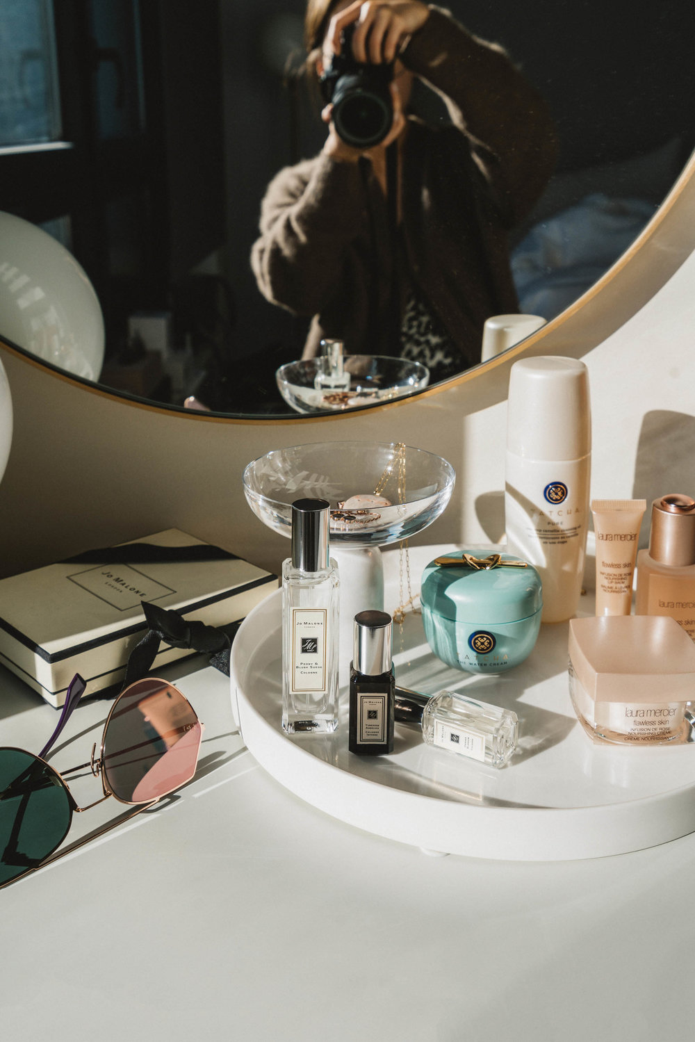 Fendi Sunglasses ,  Jo Malone Fragrances ,  Tatcha Cream ,  Tatcha Cleansing Oil ,  Laura Mercier Rose Collection
