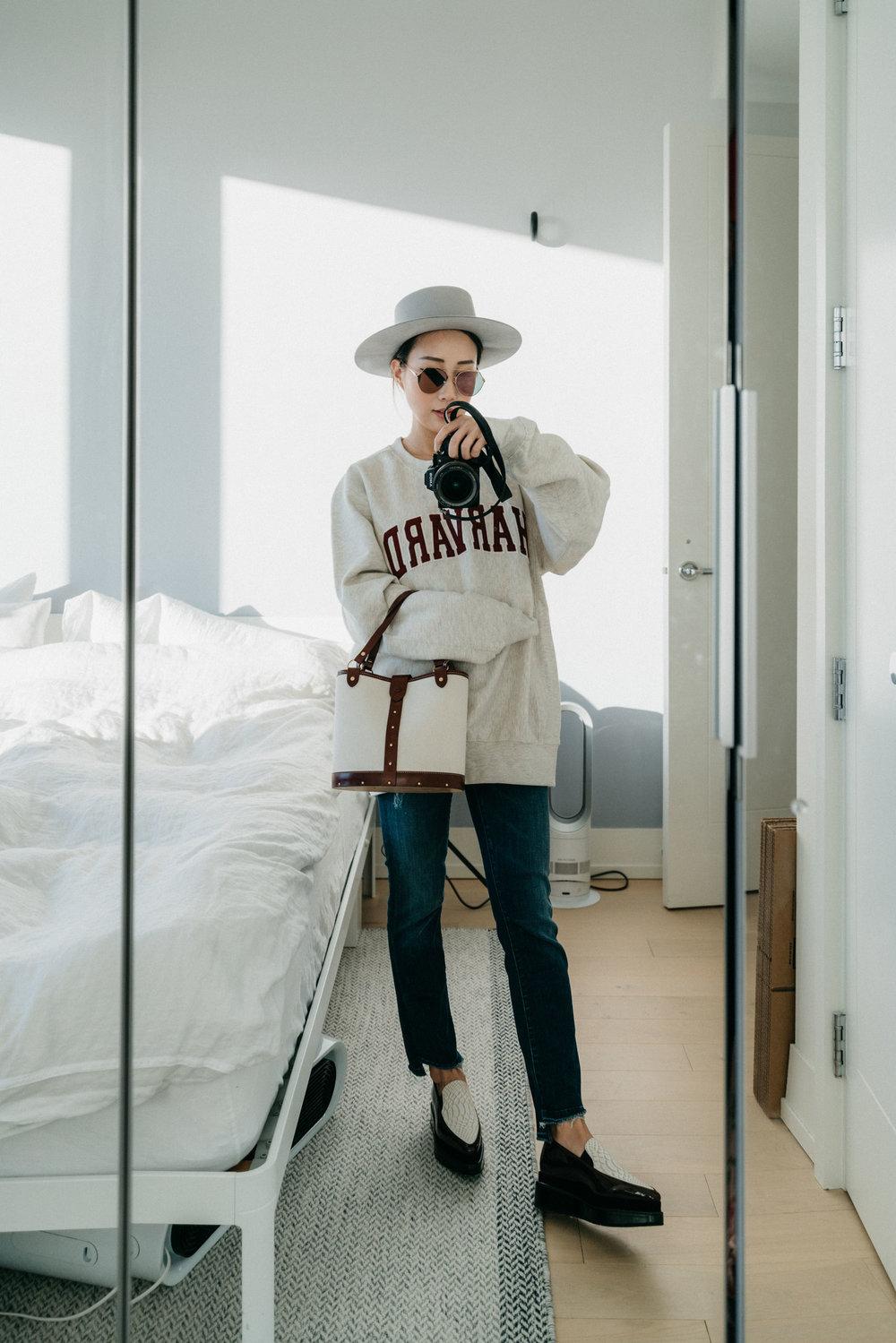 Harvard Sweatshirt,  Mother Denim ,  The Row Bag ,  Seven All Around Shoes ,  Fendi Sunglasses ,  Janessa Leone Hat