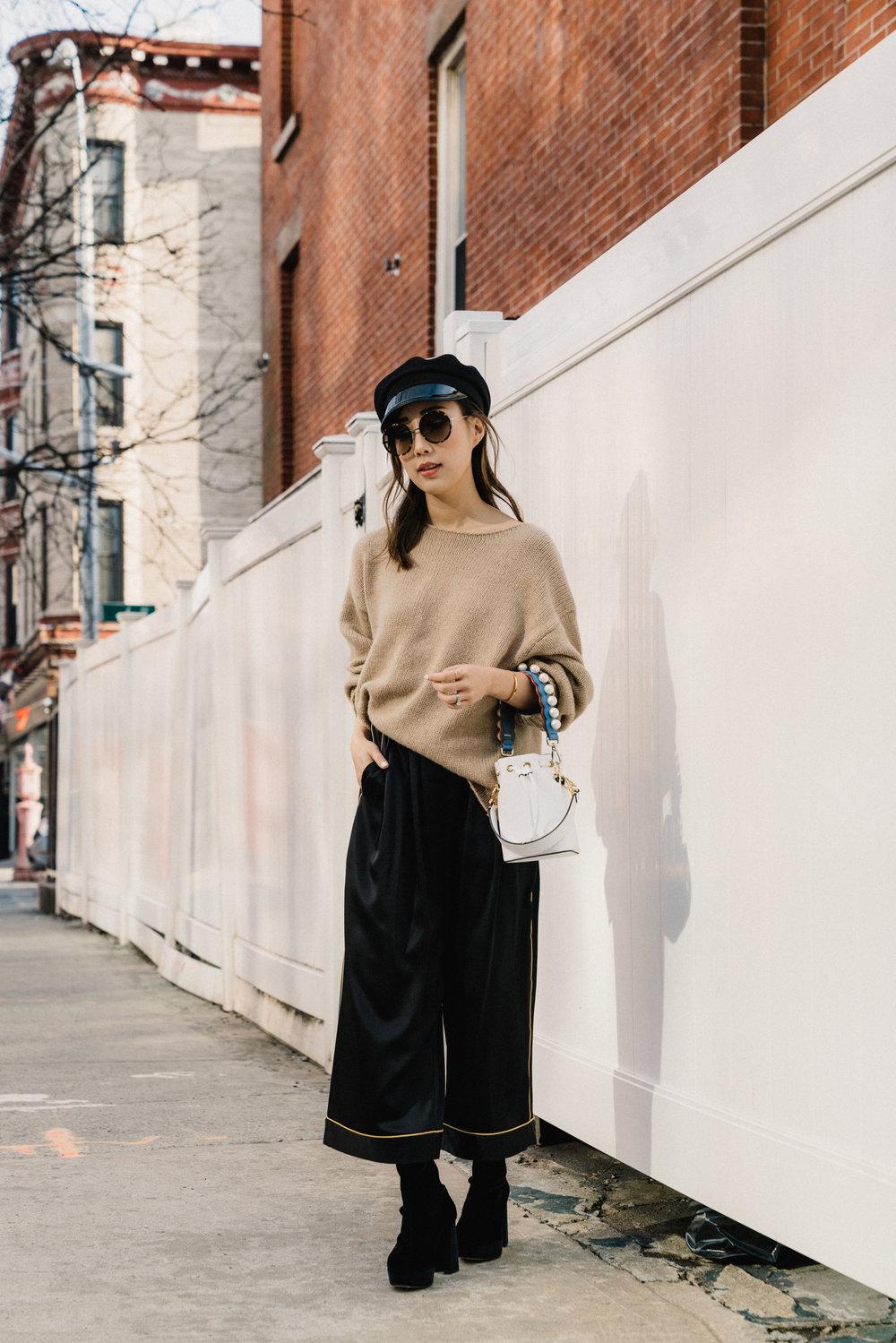 Nili Lotan Sweater ,  Homeism Pants , Miu Miu Boots, Fendi Bag