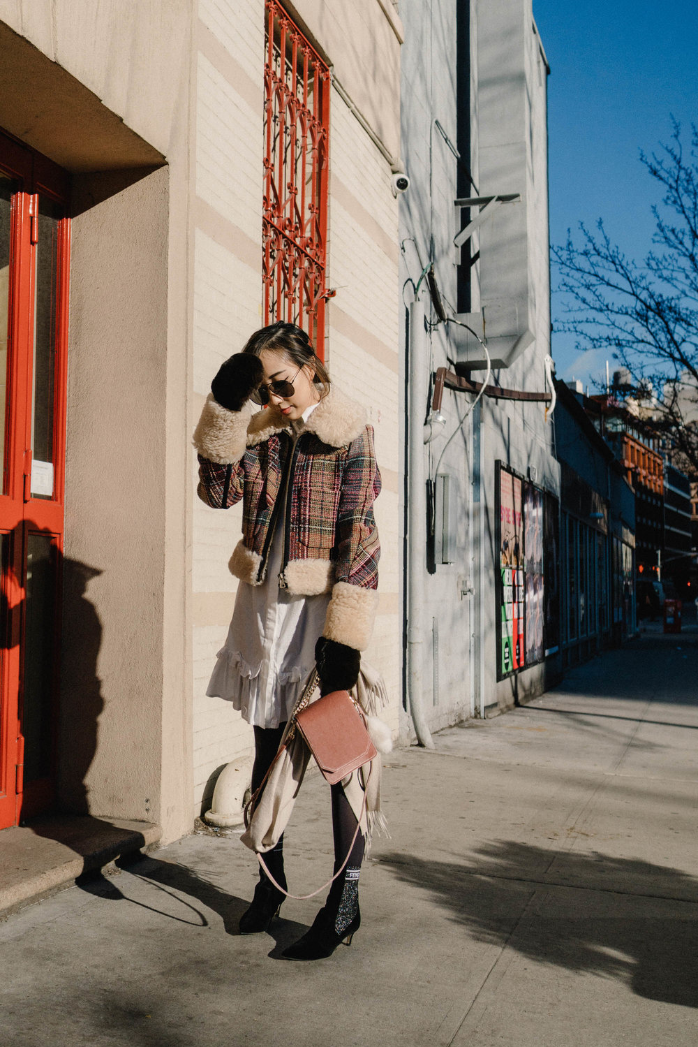 Chloe Jacket, J.W.Anderson Dress,  Fendi Boots ,  Cafune Bag , Reve Sunglasses