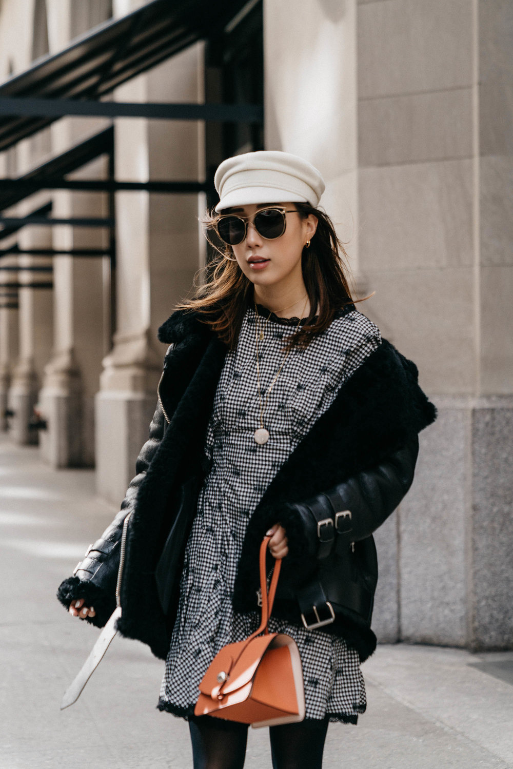Acne Studios Coat, Jonathan Simkhai Dress,  Moynat Bag ,  Blanc and Eclare Sunglasses